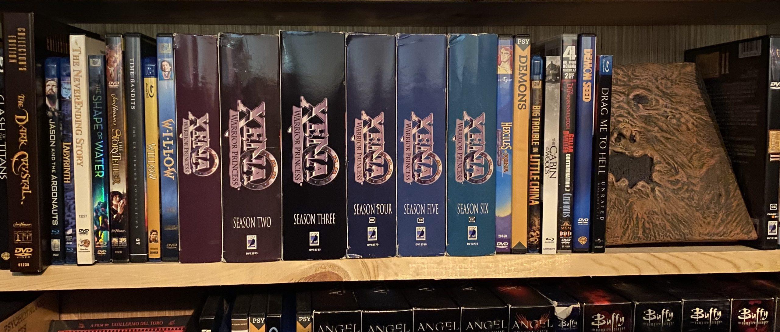 Xena DVDs on a bookshelf